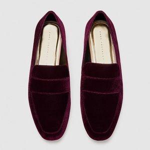 ZARA maroon velvet loafers